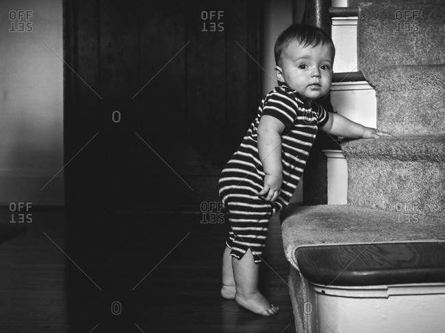Baby ready to climbing stairs