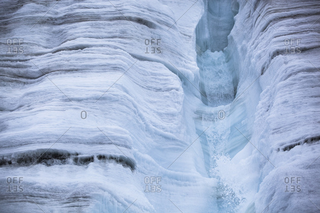 Waterfall on the Buenos Aires glacier in Antarctica