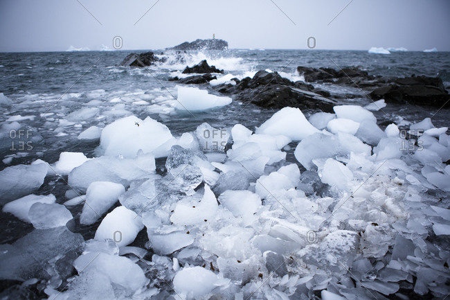 Chunks of glacial ice on a beach in Antarctica