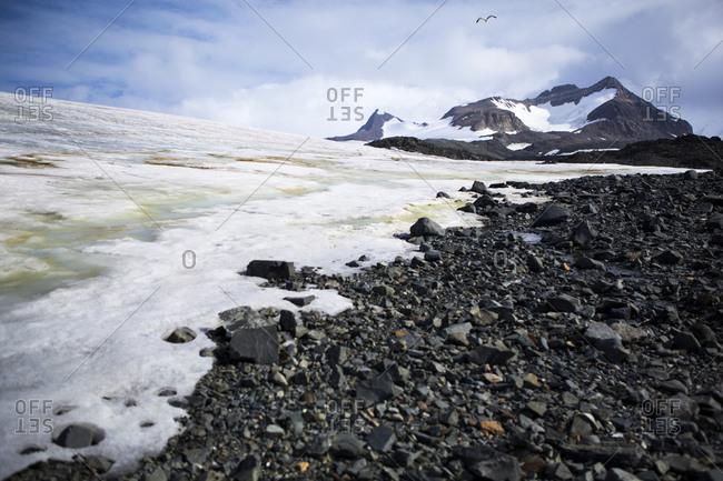 The edge of the Buenos Aires Glacier nearby the Esperanza base in Antarctica