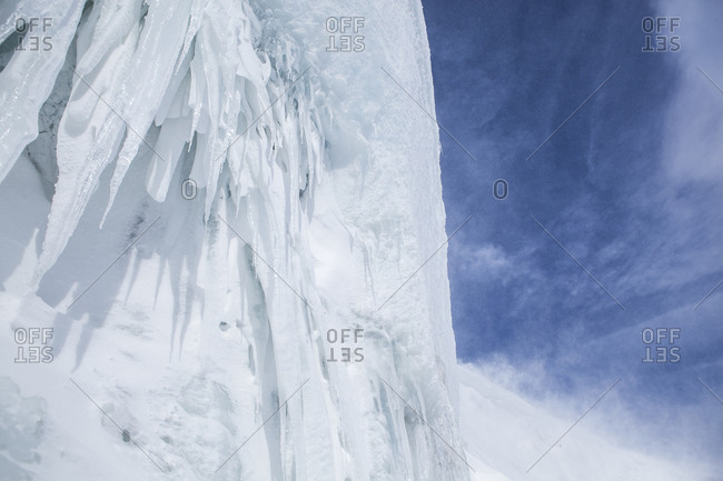 Icicles on the edge of the Buenos Aires glacier in Antarctica
