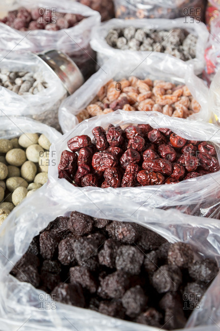 Dried fruits at a market