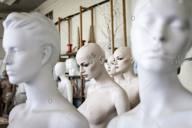 Vintage mannequins in a warehouse