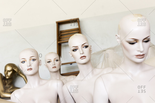Naked mannequins in a warehouse