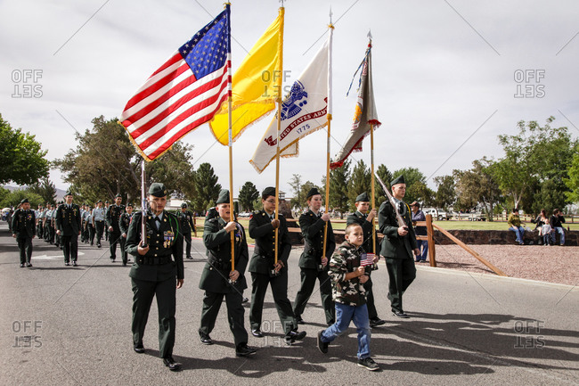 New Mexico, USA - May 11, 2013: US Army officers on at a parade in the small town of Truth or Consequences, New Mexico, USA