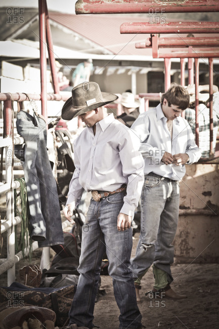 New Mexico, USA - May 11, 2013: Cowboys getting ready before a rodeo in Truth or Consequences, New Mexico, USA