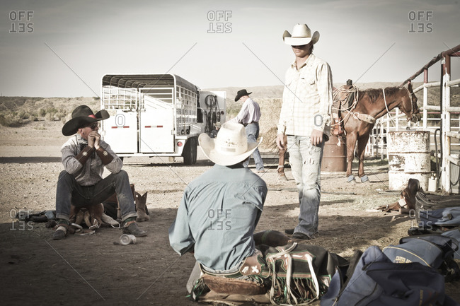 New Mexico, USA - May 11, 2013: Cowboys waiting backstage at a rodeo in Truth or Consequences, New Mexico, USA