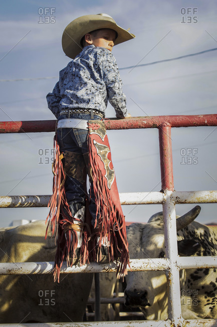 New Mexico, USA - May 11, 2013: Little boy standing on the railing of a pen at a rodeo in Truth or Consequences, New Mexico, USA