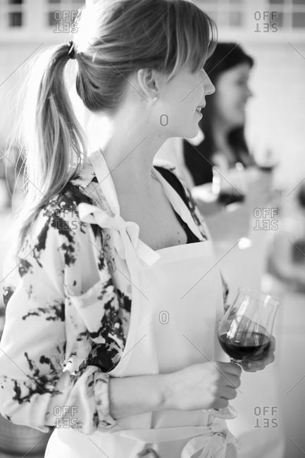 Woman holding wineglass