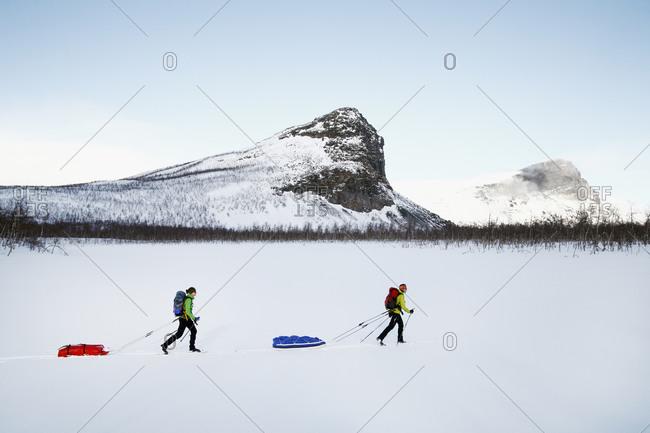 People skiing, Sarek national park, Lapland, Sweden