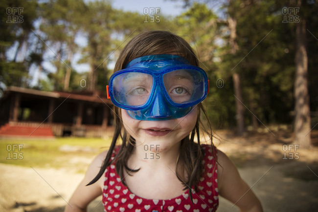 Portrait of girl wearing goggles