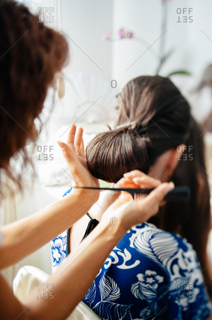 Woman having her hair done for a special occasion