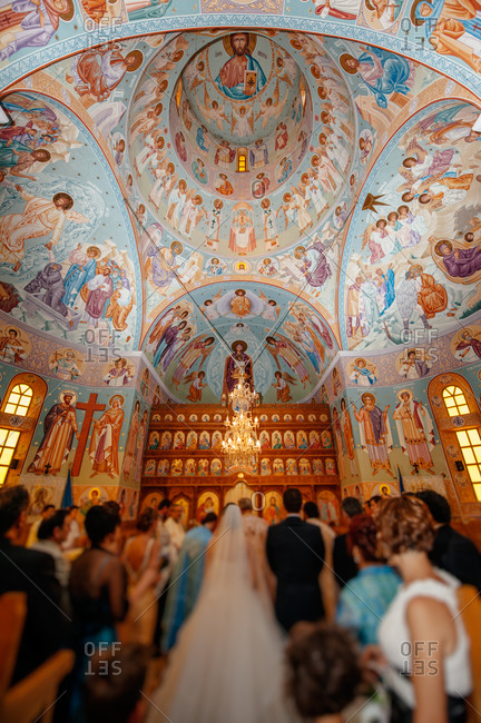 Wedding in ornate Orthodox church