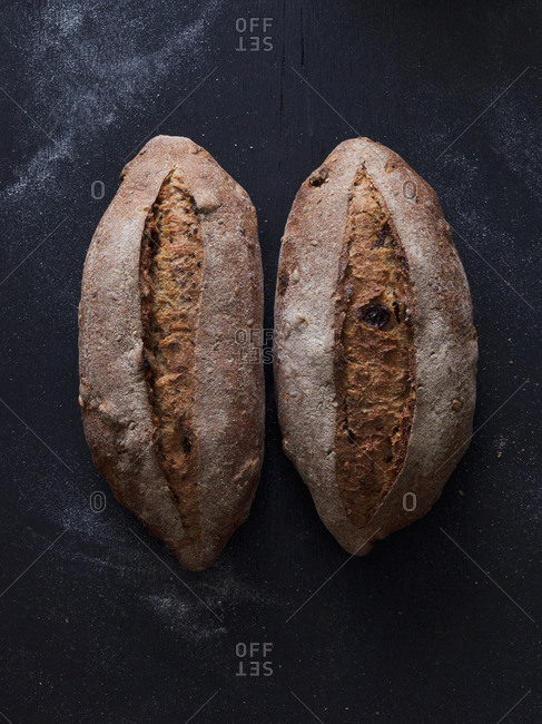 Two bread loaves side by side