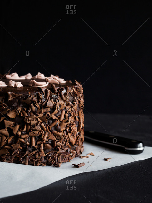 Chocolate cake on parchment