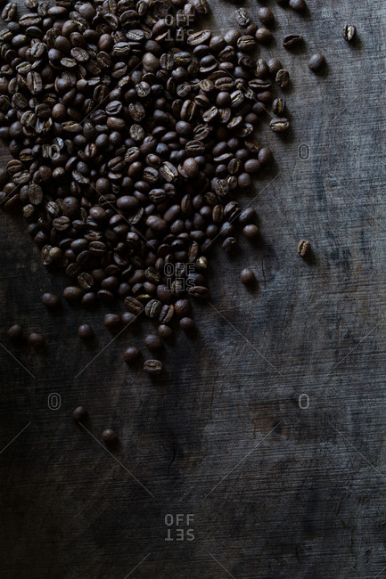 Scattered coffee beans
