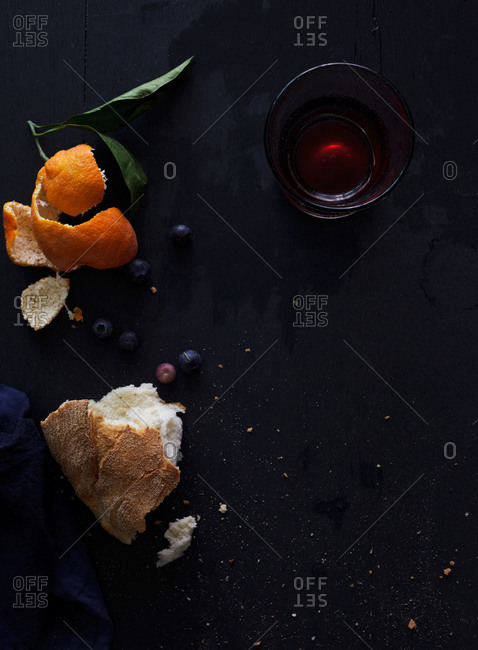 Orange peel and remnants of a snack