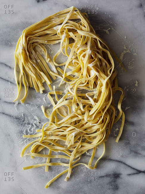 Top view of fresh pasta