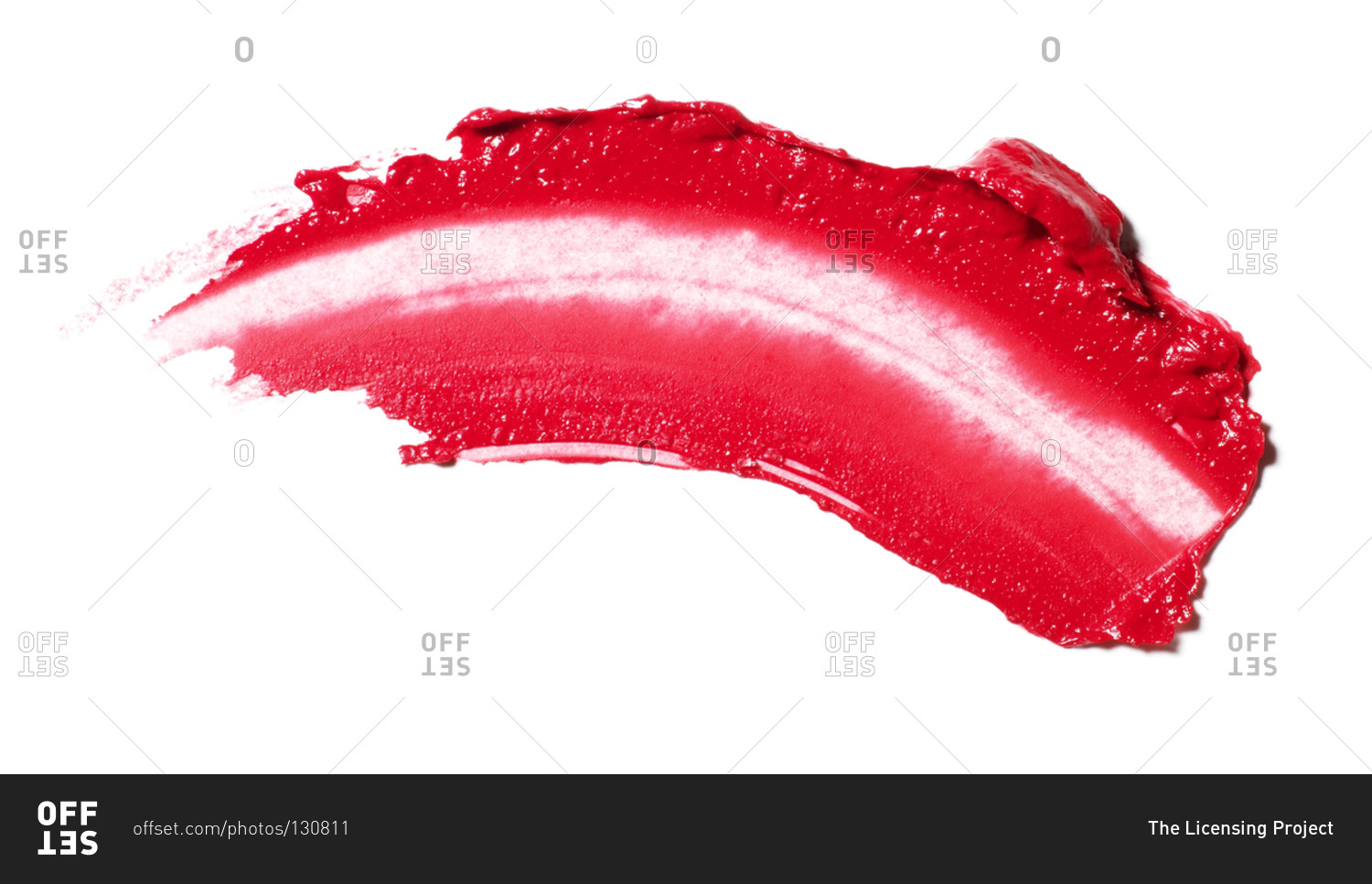 Smeared bright red lipstick stock photo - OFFSET