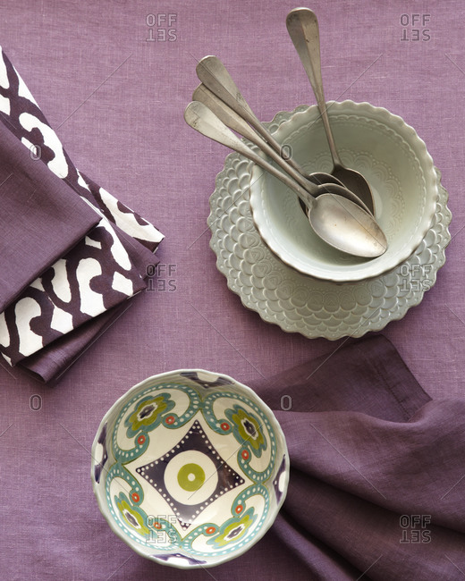 Overhead still life of bowls and napkins