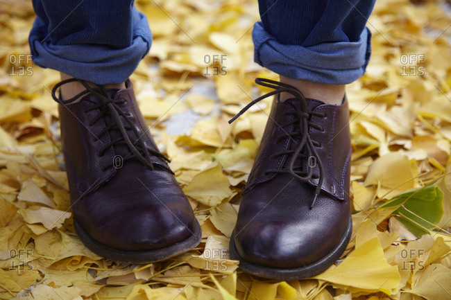 Close up of a person's shoes while standing in a pile of leaves