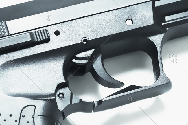 Close-up of the trigger on a handgun