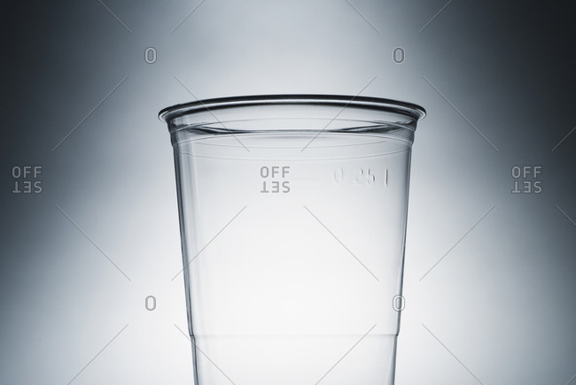 An empty clear plastic cup