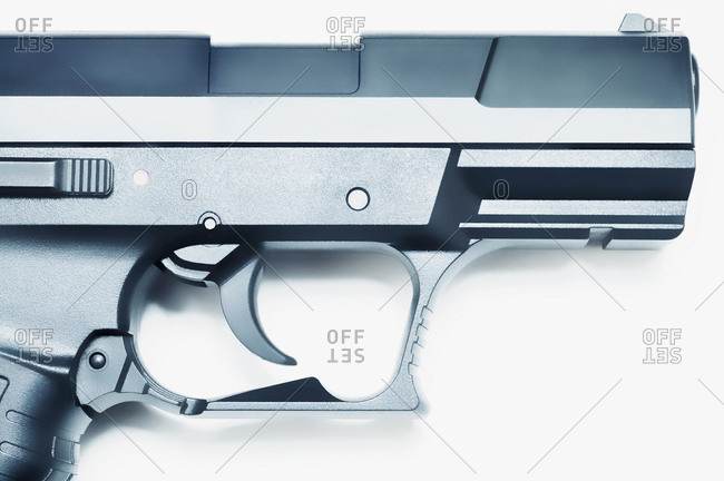 Close-up of trigger and barrel of a handgun