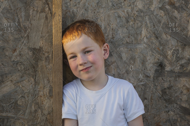 Portrait of young boy leaning on wooden plank