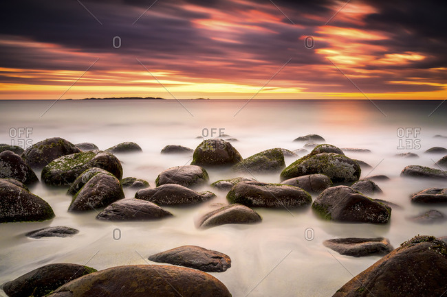 Sundown at the coastline of Utakleiv, Norway