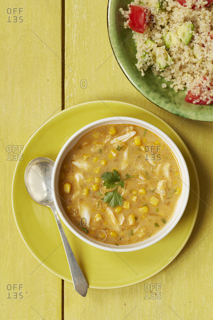 Chicken and sweet corn soup with quinoa salad