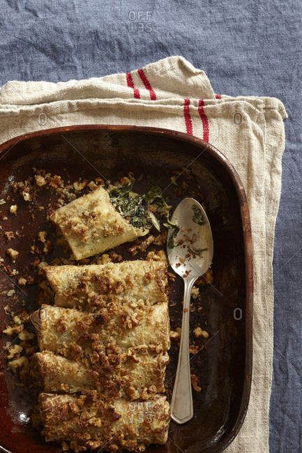 Savory crepes with chard and goat cheese