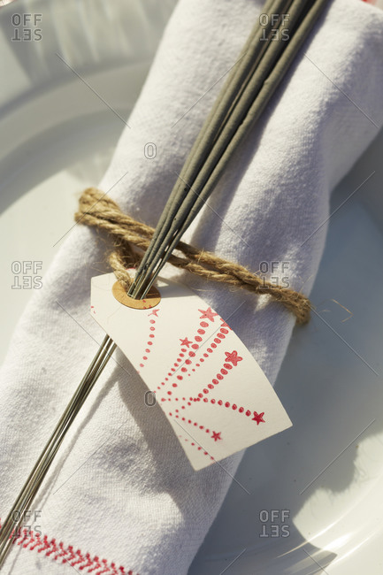 Sparklers tied to a napkin