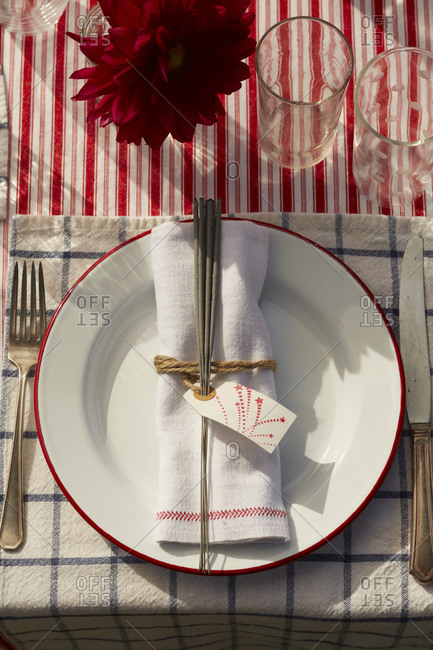 Festive table setting for a 4th of July party
