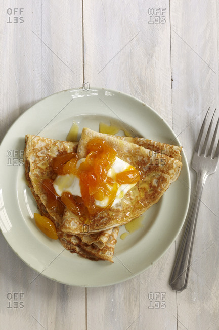 Crepes garnished with fromage blanc and apricots