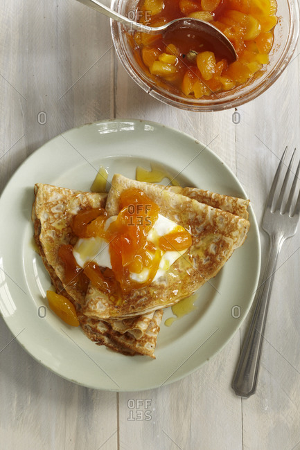 Crepes with fromage blanc and apricots