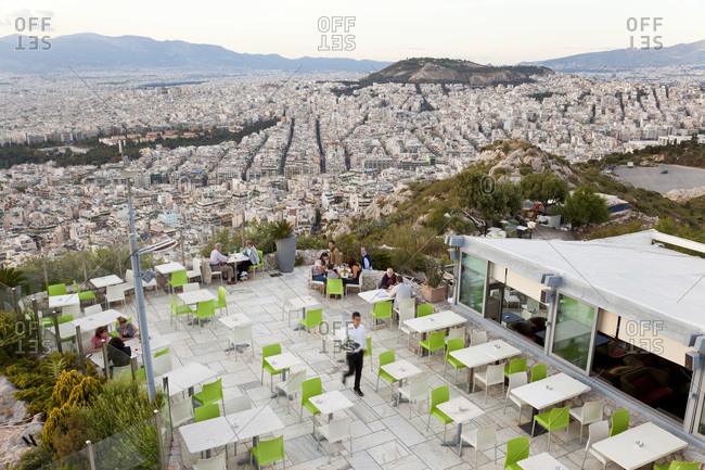 Athens, Greece - May 18, 2011: A cafe on Lykavittos Hill