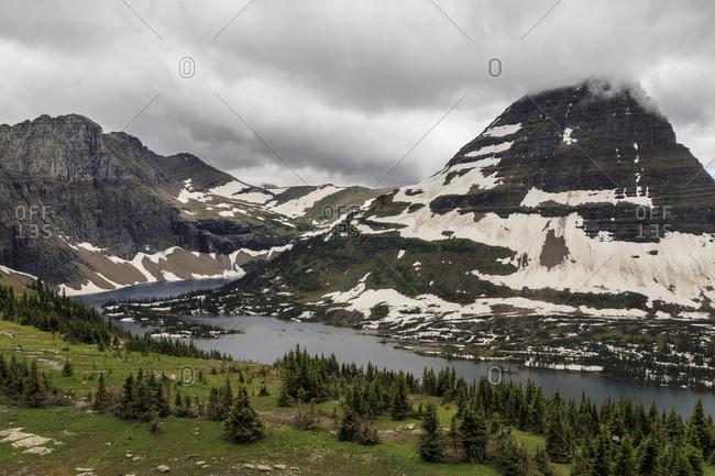 An overcast day at Hidden Lake Overlook