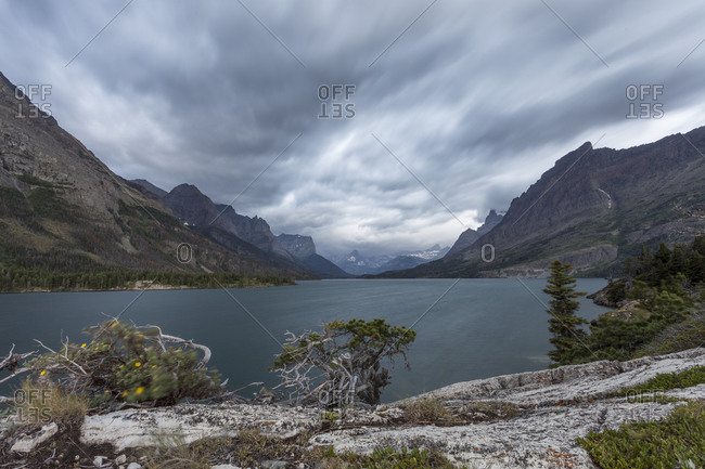 A view of St Mary Lake in Glacier National Park