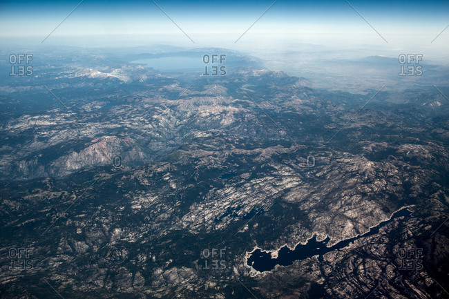 View of wilderness from airplane flying near Lake Tahoe, California