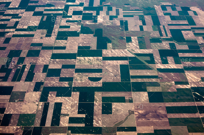 Patterns of agriculture seen from an airplane flying over the American Midwest