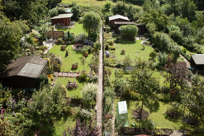 High angle view of allotment gardens, Essen, Germany