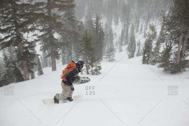 Man snowboarding down wooded hill near Lake Tahoe, California