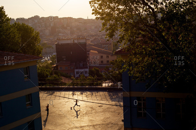 Kids play soccer in an Istanbul neighborhood
