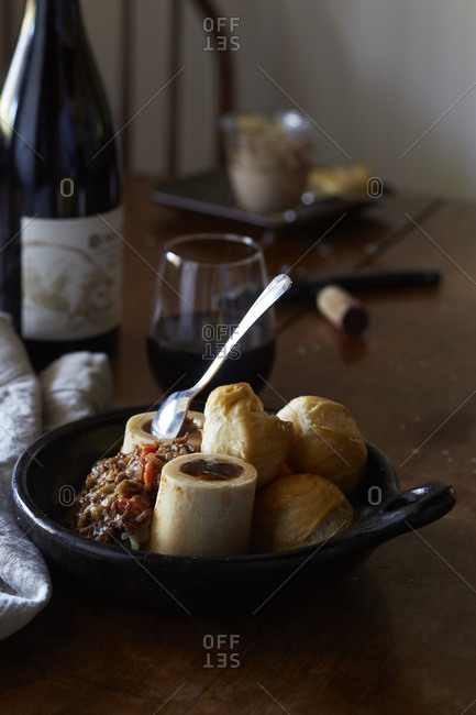 Roasted marrow bones with onion jam