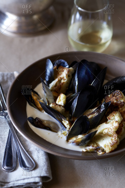 Mussel soup with roasted cauliflower florets
