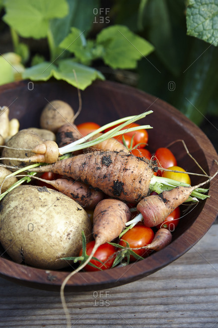 Potatoes, carrots and tomatoes in a wooden bowl