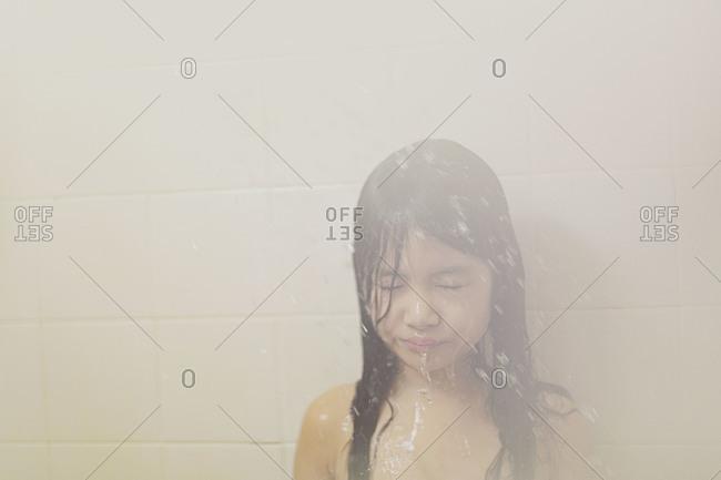 Little girl in the shower
