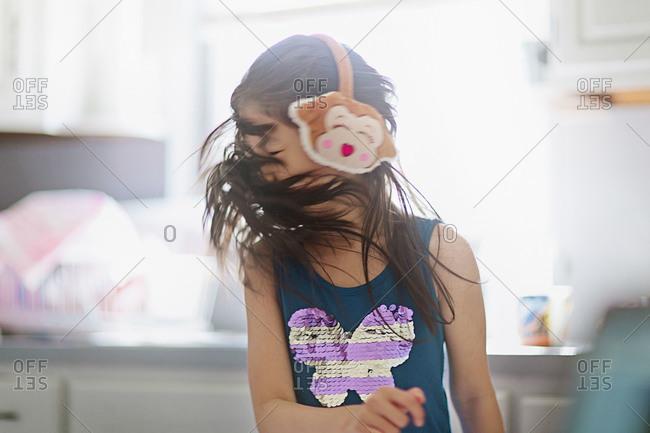 Girl flipping her hair