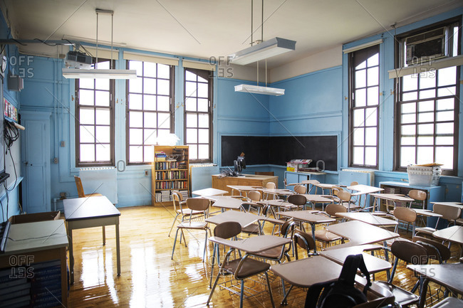 Interior of an empty classroom